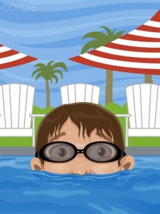Boy Rising from Swimming Pool