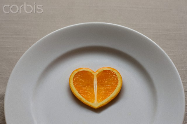 Orange slice in the shape of a heart