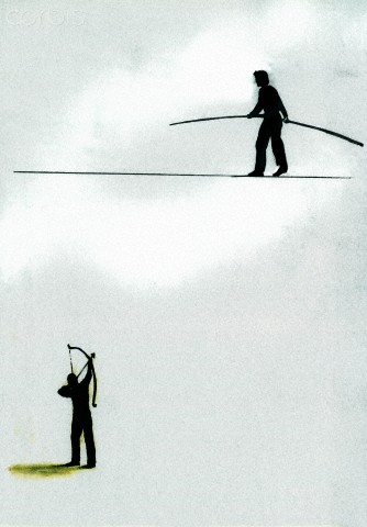 Man aiming bow and arrow at man on tightrope