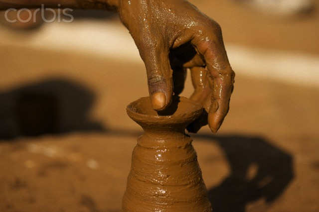 Close up of potter at work in Orchha, Madhya Pradesh, India