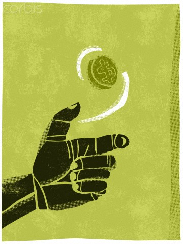 Illustration of a hand flipping a coin in the air